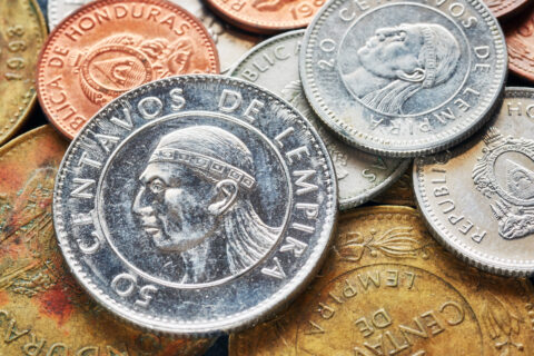 Close up picture of Honduran lempira coins.